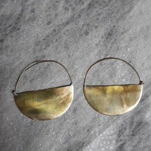 Two tone Anthropolgie half moon hoops